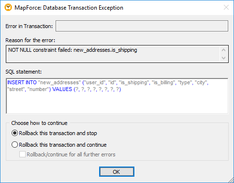 Confirming transaction settings for database exception handling