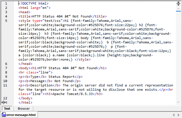 Handle http errors -- example of an error result provided by the Web service in HTML format