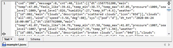 JSON data retrieved from a URL by XMLSpy