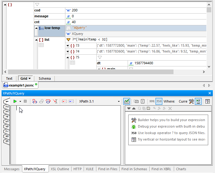 Building a formula using the XQuery helper window in JSON Grid view