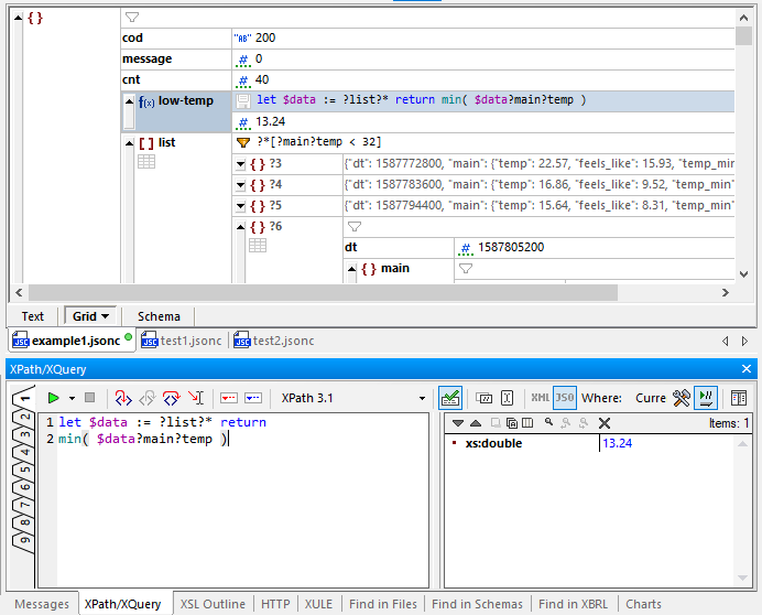 Build, test, and debug formulas in the XQuery window