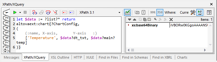 Creating the chart expression in the XQuery window