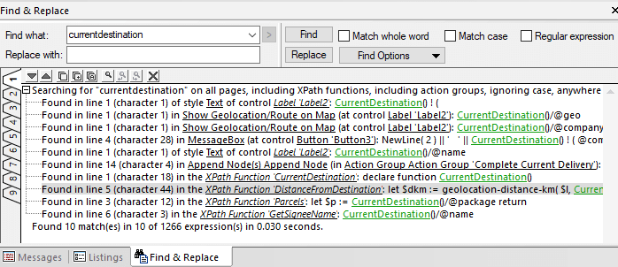 Global find and replace dialog