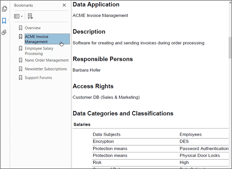 Auto-generate a GDPR compliance report in PDF or Word