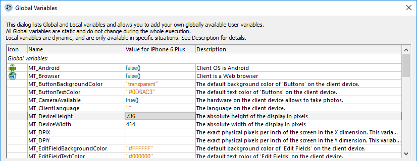 Global Variables window in the MobileTogether Designer