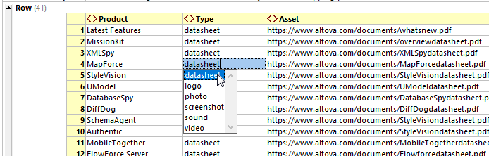 Database upload model in XMLSpy grid view.
