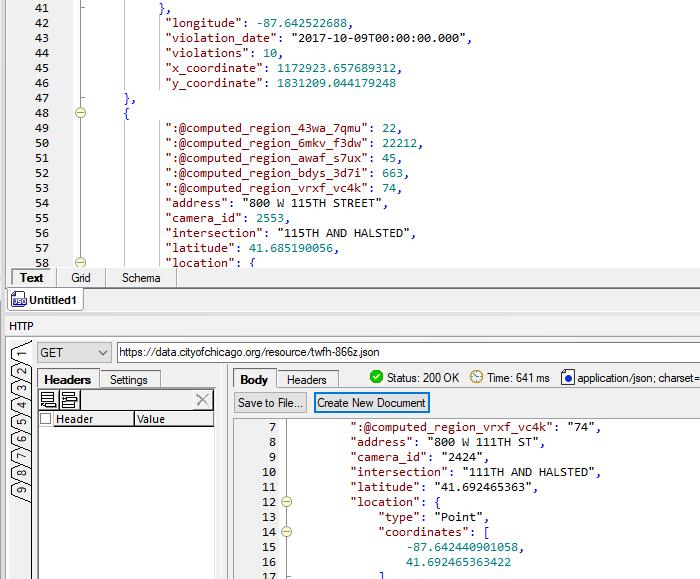 HTTP response in JSON