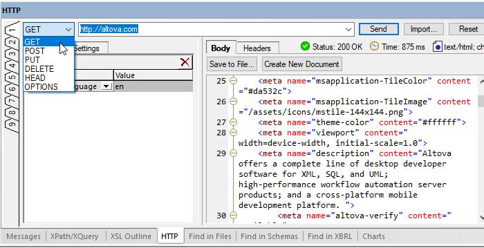 HTTP testing window