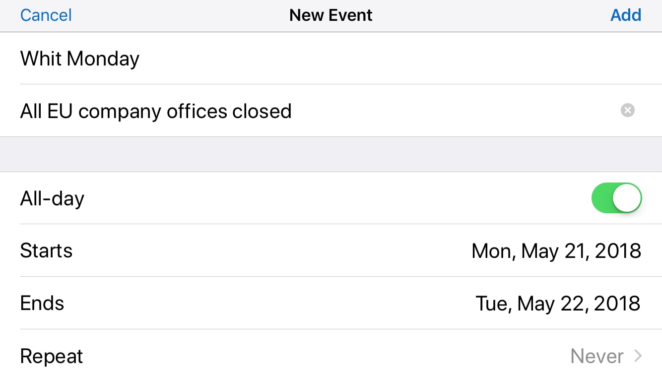 Adding a new calendar event on an iPhone