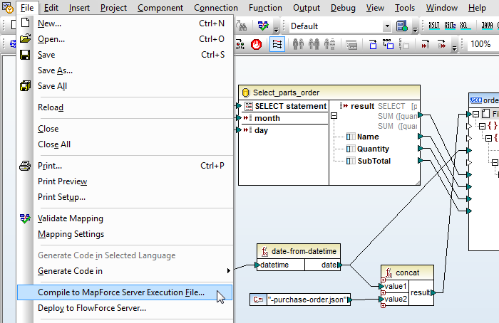 Save a data mapping as an execution file for MapForce Server Use Case