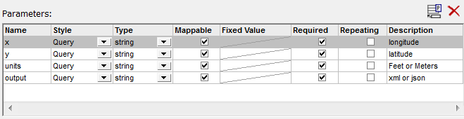 Portion of the MapForce REST Web Services dialog to specify query input parameters