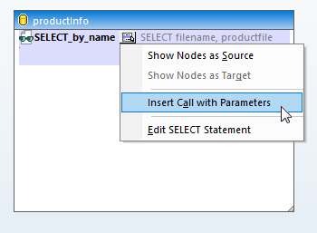 Adding the query with parameters to the data mapping