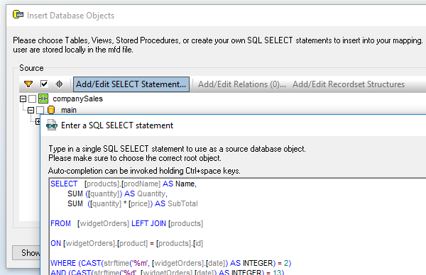 Inserting a db query into a MapForce data mapping