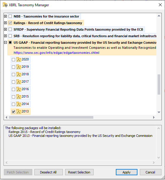 The XBRL Taxonomy Manager makes it easy to download the XBRL taxonomies you require