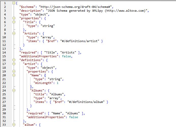 Edit JSON Schema text view