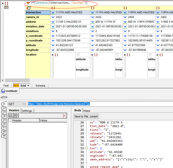 Filtering JSON with XQuery