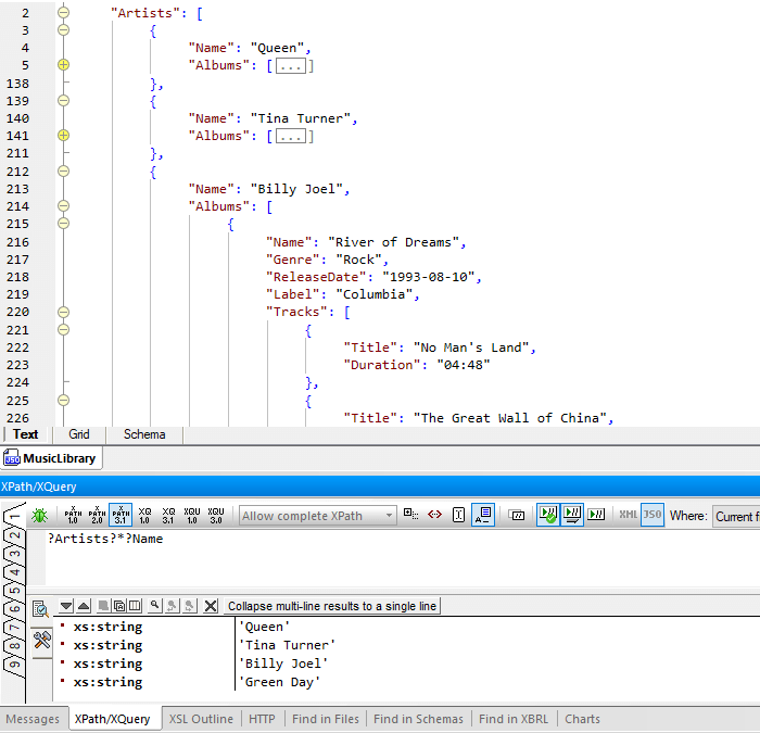 Query JSON with XPath/XQuery