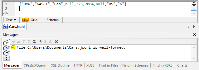 Example file for data mapping JSON Lines