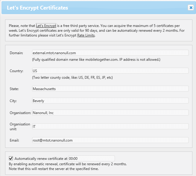 Seamless integration with Let's Encrypt in MobileTogether Server for requesting free SSL certificates