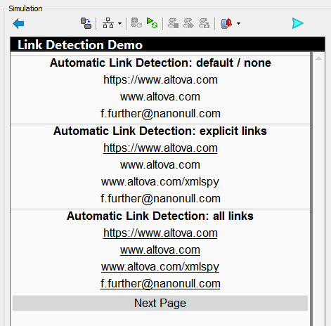 Automatic link detection features displayed in the MobileTogether Simulator window