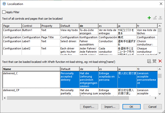Localization dialog assigns names to text strings determined at runtime