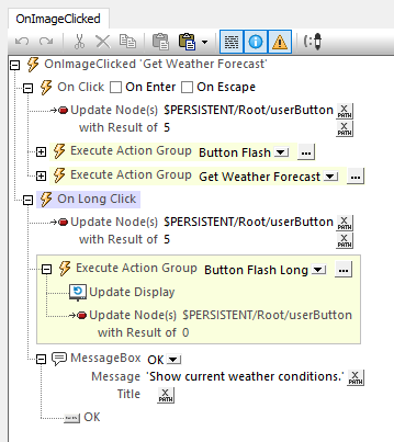Actions performed on a long click for visual feedback in mobile applications