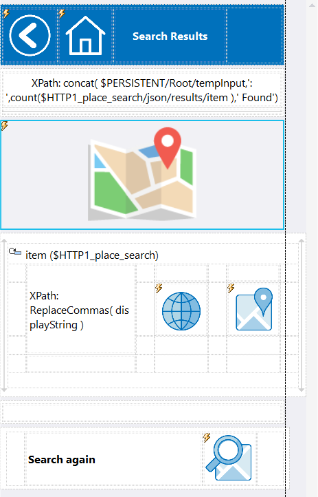 Adding the geolocation map control to a mobile app design in the MobileTogether Designer