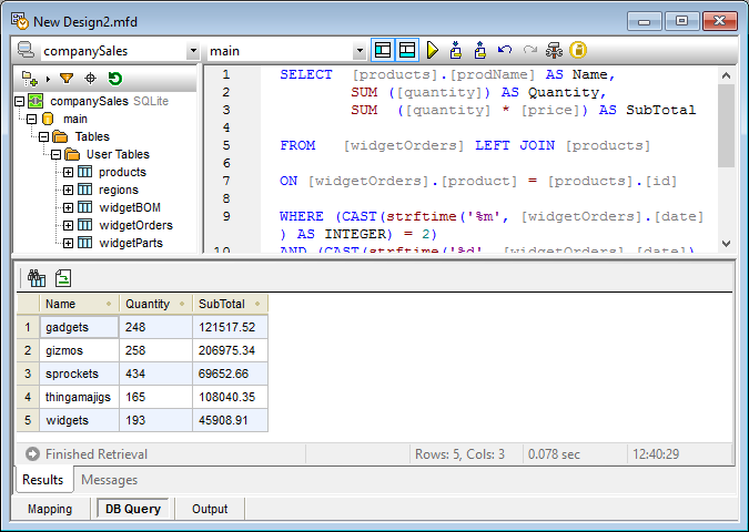 MapForce database query window
