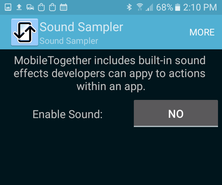 Demo app with sound effects disabled