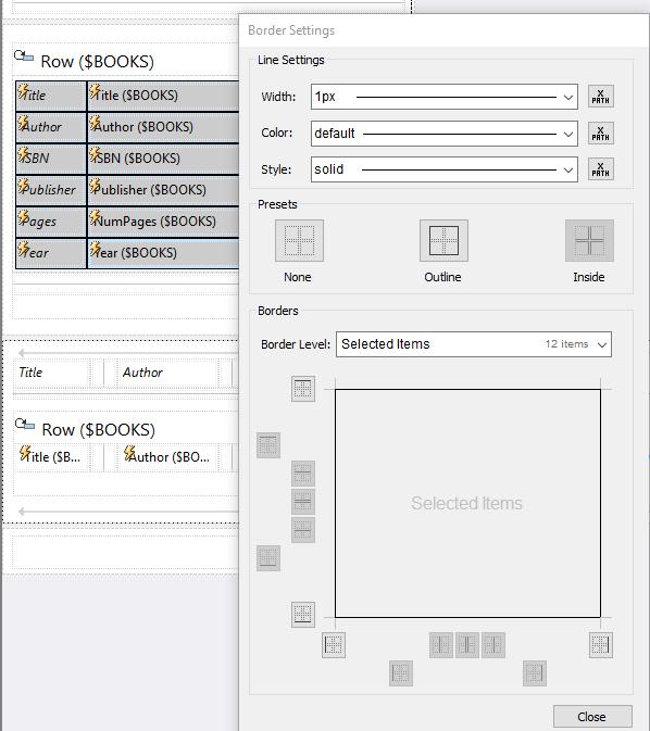 Table borders in MobileTogether Designer