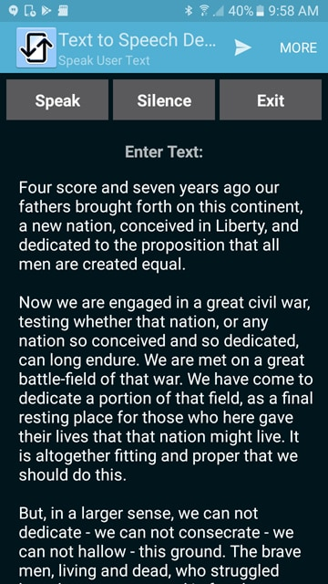 Text-to-Speech for Mobile apps simple demo on an Android device