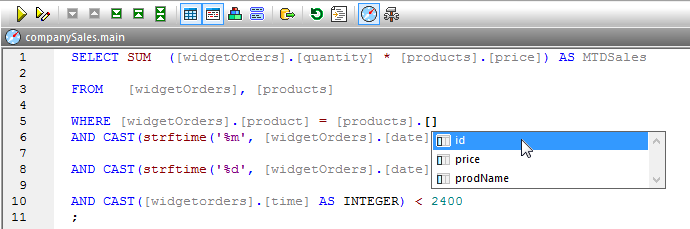 Database tool SQL Editor autocompletion