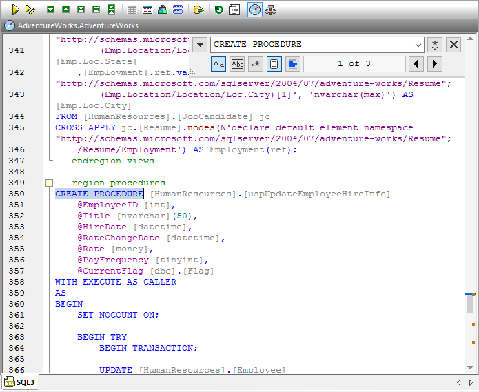 Database tool Find in DDL script