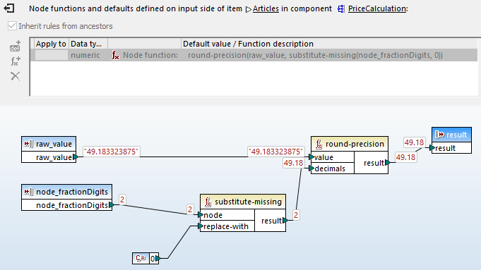 Details of node function execution viewed in the built-in MapForce debugger