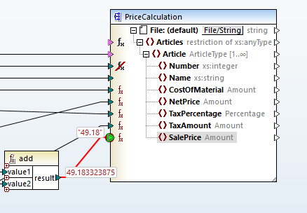 Viewing execution result of the node function using the built-in MapForce debugger