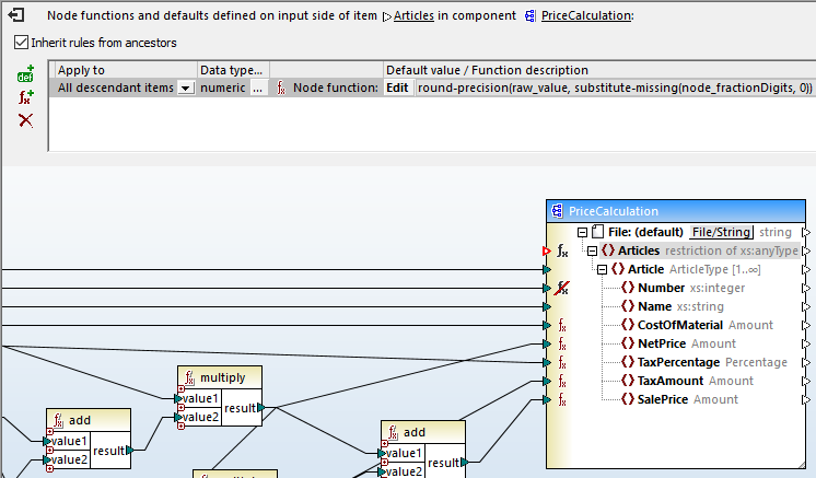 Viewing a node function in a structured data mapping