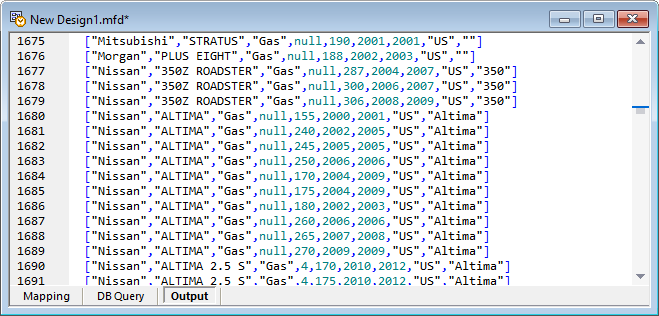 A partial view of the .jsonl ouput file