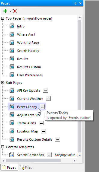 Identifying a sub page called by the events button