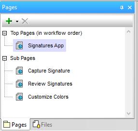 Pages helper window in the MobileTogether Designer