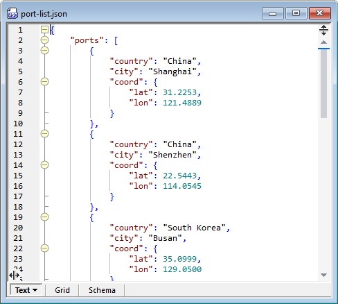 The same JSON file in Text view