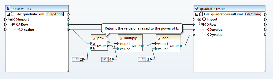 Constructing a quadratic expression for a data mapping with XSLT3
