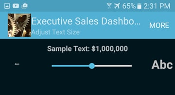 Slider control to resize text in the mobile dashboard app