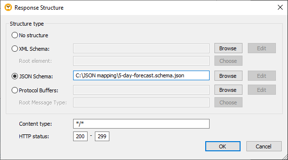 Adding the JSON schema to map the REST response data structure