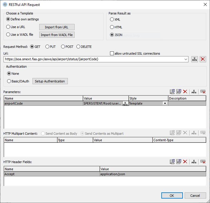 MobileTogether RESTful API Request dialog