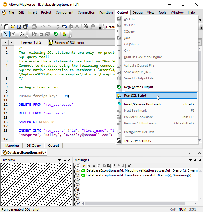 Run SQL script example for database exception handling