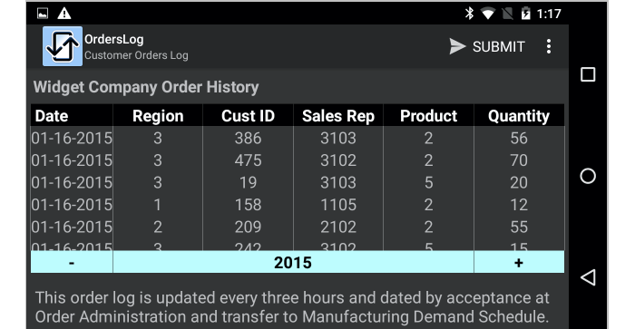 Scrollable table in mobile app