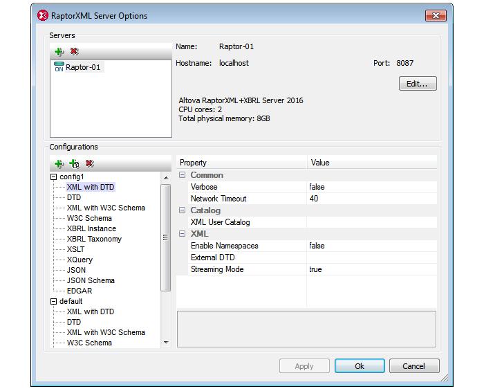 Configuring RaptorXML Server in XMLSpy