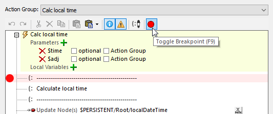 Setting a breakpoint for mobile app debugging