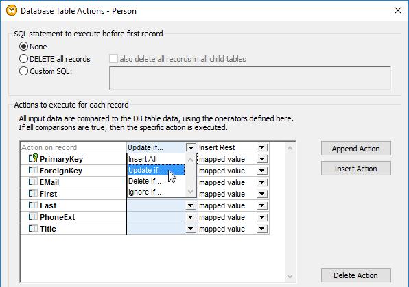 Set Update-If Action in Altova MapForce