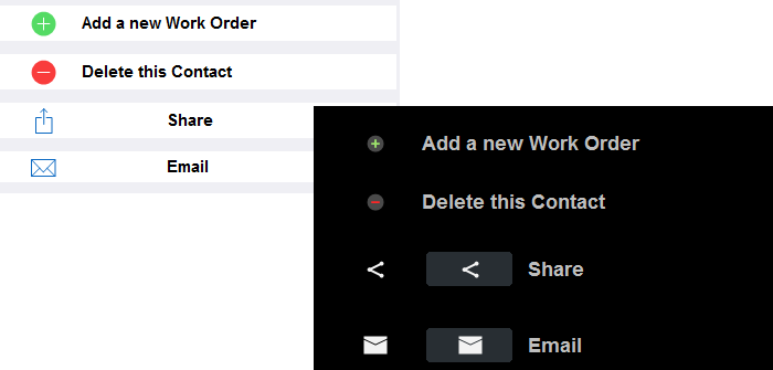 Email and share app buttons